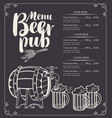 beer pub menu with barrel and full beer glasses vector image