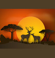 deer in forest with sunset paper art and craft vector image