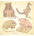 Sketch fancy animals alphabet in vintage style vector image