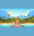 woman in bikini on beach over bungalow house sexy vector image