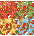 Christmas seamless pattern set vector image vector image