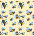 seamless background with bee flying vector image vector image