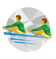 two sportsman in boat on gray background vector image