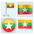 Myanmar flag - sticker button label flagstaff vector image vector image