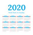 2020 calendar start on sunday vector image
