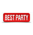 best party red three-dimensional square button vector image