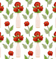 Seamless pattern with poppies in vases vector image vector image