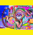 original digital abstract painting of sloth - vector image