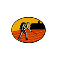 Paver Sealer Contractor House Oval Woodcut vector image