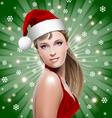 santa girl with santa hat vector image