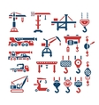 Set color icons of crane lifts winches and hooks vector image