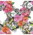 Tropical floral watercolor seamless pattern with vector image