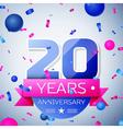 Twenty years anniversary celebration on grey vector image