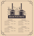 beer pub menu with a price list in retro style vector image