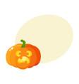 Pumpkin jack-o-lantern with scared face cartoon vector image