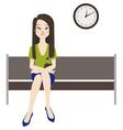 Melancholy woman wait vector image