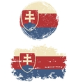 Slovakia round and square grunge flags vector image