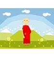 Calm buddhist monk vector image