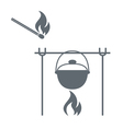 Fire pot and matches icon vector image