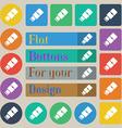 USB flash icon sign Set of twenty colored flat vector image