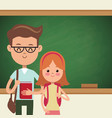 back to school couple students with blackboard vector image