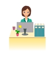 Business woman working in office Character design vector image