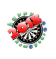 darts board and new year 2018 vector image