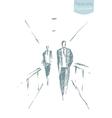 Drawn business men office concept sketch vector image