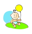 Small baby playing with a yellow balloon vector image