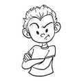 Angry boy1 black vector image