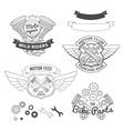 Set of biker vintage labels oldschool motor logo vector image