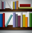 Colorful books on the shelves template vector image