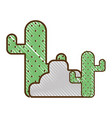cactus plan with trees and ecological element vector image