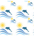 sea waves with dolphins summer vacation seamless vector image