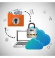 Cloud computing padlock web hosting design vector image