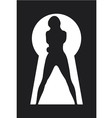 silhouette of a woman figure seen in a key hole vector image