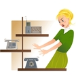 Secretary is under stress with lot of telephone vector image vector image