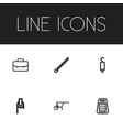set of 6 editable tools icons includes symbols vector image