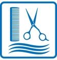 blue hairdresser sign vector image vector image