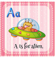 A letter A for alien vector image vector image