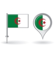 Algerian pin icon and map pointer flag vector image
