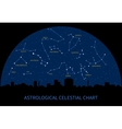 sky map with constellations of zodiac vector image