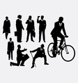 Businessman male people at work activity silhouet vector image vector image