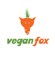 Concept fox-carroticon vegan fox vector image