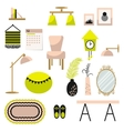 Home decor and furniture set flat style vector image