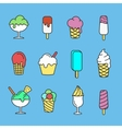 Ice cream set of simple linear icons or vector image