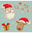 christmas santadeer box card blue vector image