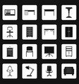 office furniture icons set squares vector image