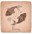 Pisces zodiac sign horoscope vintage card vector image