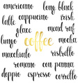 Set names of species coffee in calligraphy vector image